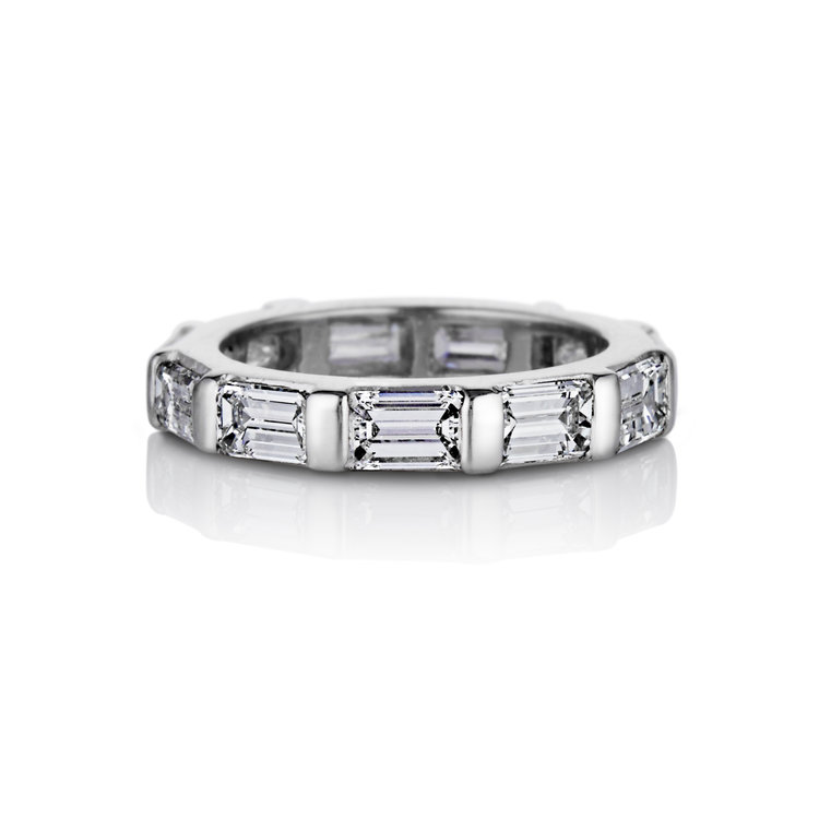 BAGUETTE DIAMOND ETERNITY WEDDING BAND IN PLATINUM — David Alan Jewelry