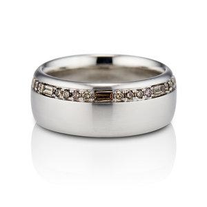 PAVÉ DIAMOND AND BAGUETTE WEDDING BAND IN PLATINUM — David Alan ...