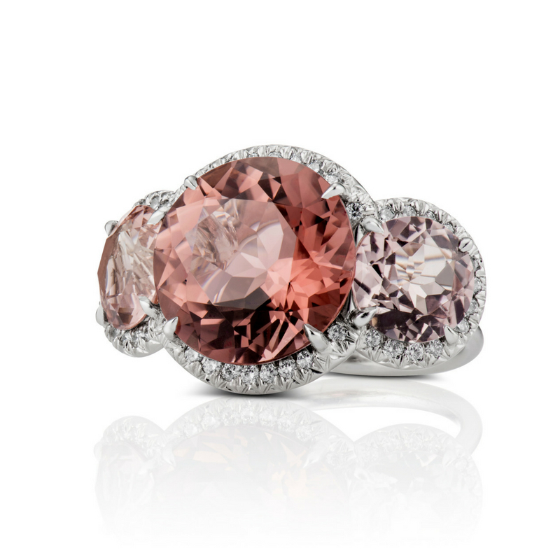 "DAVID ALAN Three STone RING - Custom, Not Customary Fine Jewelry made by hand in the heart of New York City. Originally deemed the ""Placeholder Ring"" because David's muse wore a similar ring before they were betrothed, this three stone pink tourmaline ring features gemstones in three complimentary shades of pink set in platinum.To purchase or book an appointment in Manhattan or The Hamptons:"
