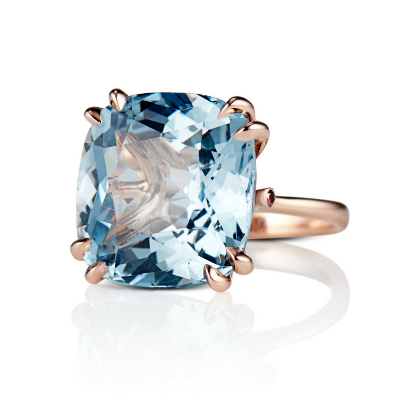 David Alan Blue Topaz ring - Custom, Not Customary Fine Jewelry made by hand in the heart of New York City.There is no better color that sings summer in the Hamptons than azure blue. If you are looking for an epic summer statement piece, look no further than this blue topaz cocktail ring set in 18K rose gold.To purchase or book an appointment in Manhattan or The Hamptons: