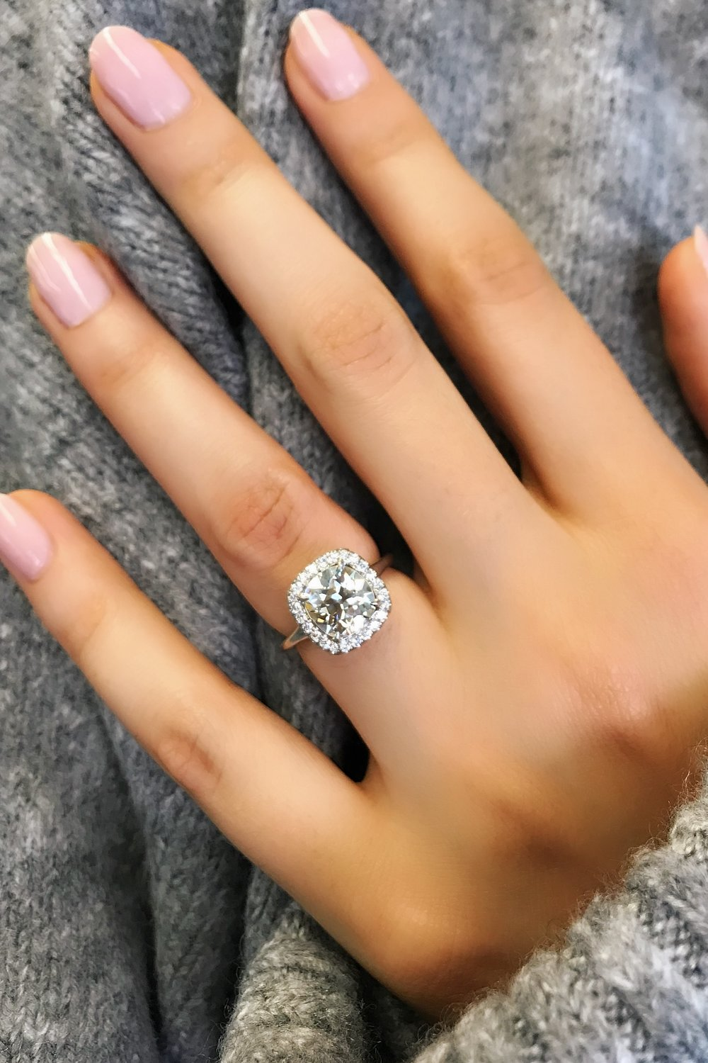Antique Cushion Cut Diamond Engagement Ring in Platinum - This Custom Antique Cushion Cut Diamond Halo Engagement Ring is a David Alan signature. With a true passion for antique cushion cut diamonds, David travels the world sourcing diamonds like this one featured here.