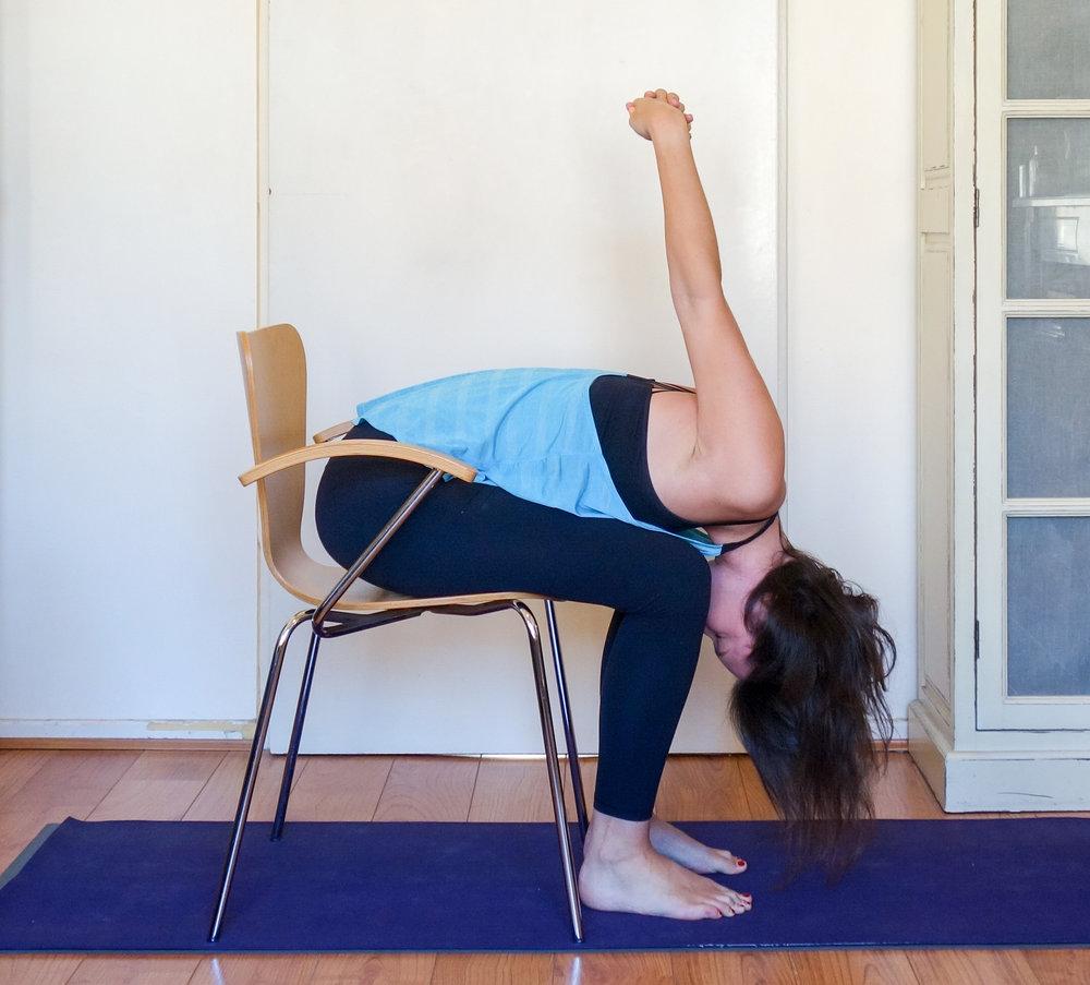 Chair yoga forward fold