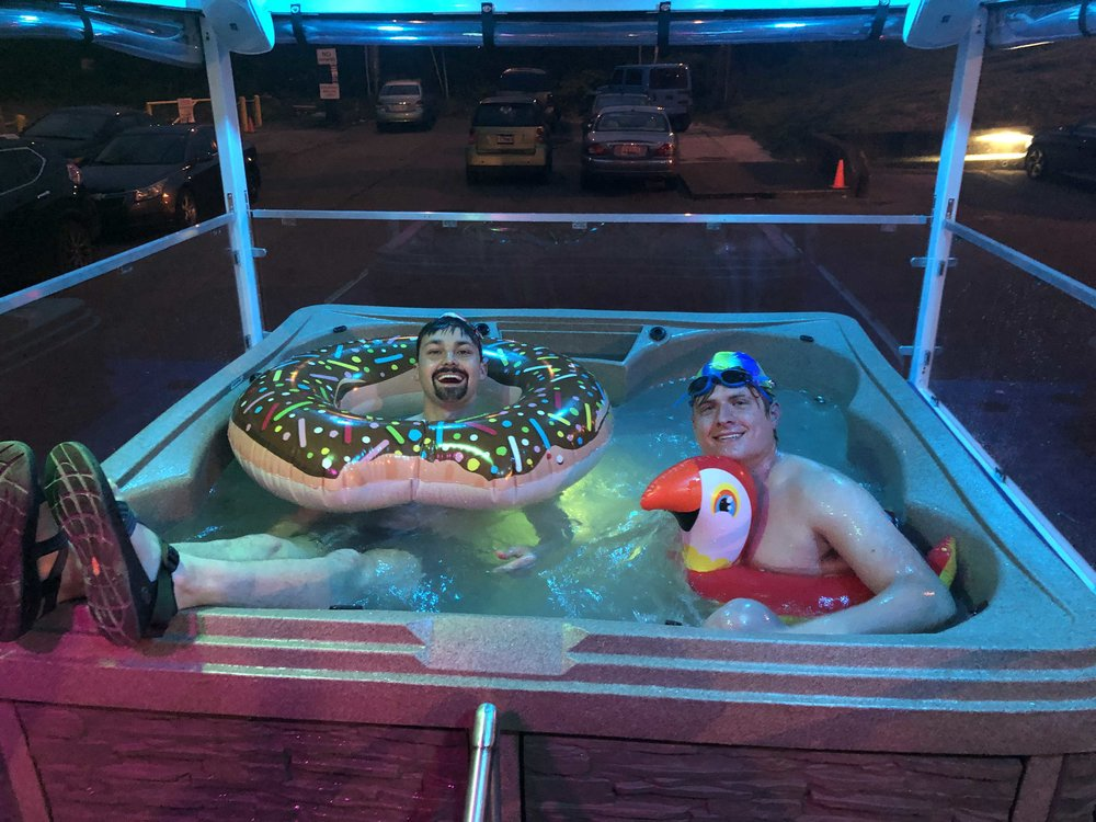 Austin and Colin in the Music City Party Tub