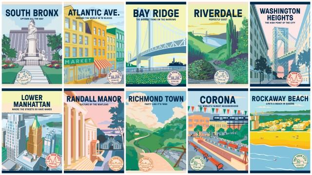 New York City, tourism branding illustrations