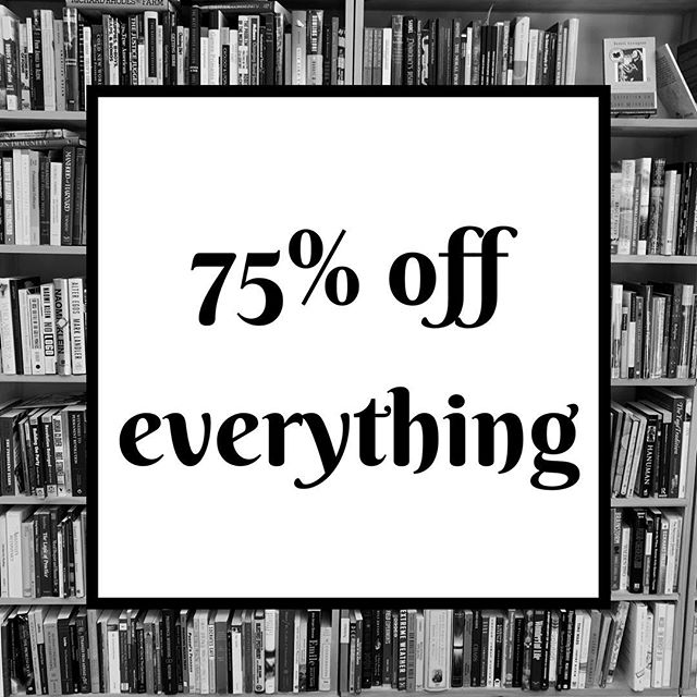 75% off everything starting tomorrow.  #sale #wsnc #dtws