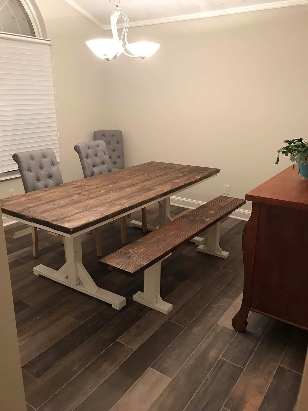 Trestle Style Farmhouse Table - 5 feet x 30 inches- $400+$50/foot- up to 8 feet+$50/extra board- adds 7.5 inches to the width of the tableBenches- $80/each, cut to size to fit your table