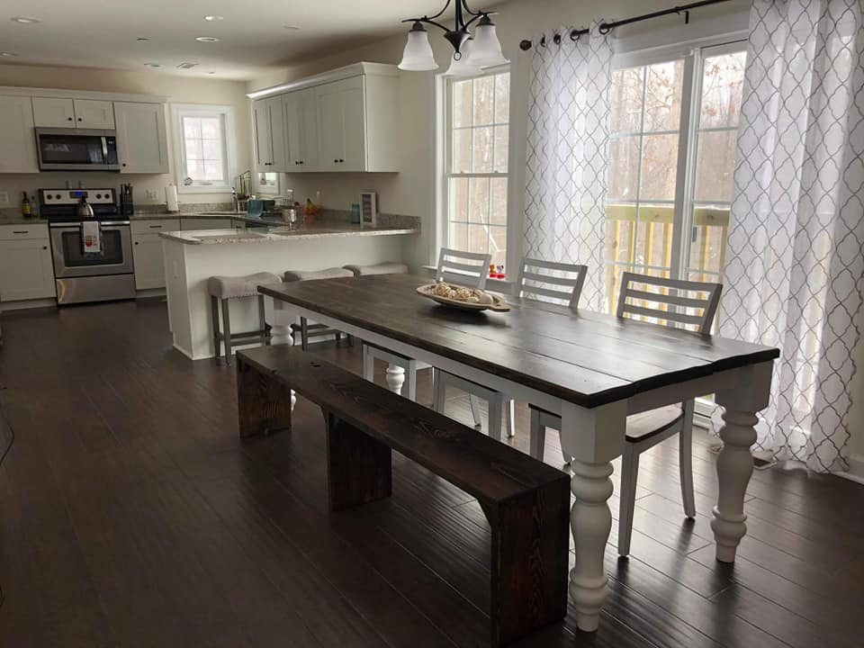 Turned Leg Style Farmhouse Table - 5 feet x 30 inches- $500+$50/foot- up to 8 feet+$50/extra board- adds 7.5 inches to the width of the tableBenches- $80/each, cut to size to fit your table (style as shown in photo)Tables must be left at our shop for 1-5 days for assembly, as we must assemble and clamp this style for you.Table legs must be ordered from our supplier and can be shipped to your home or our shop