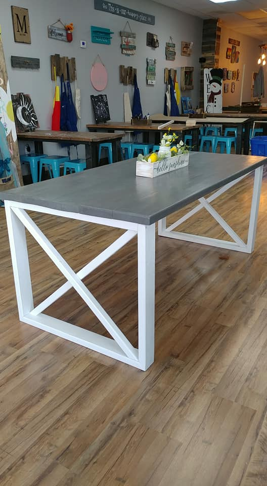 Cross Brace Style Farmhouse Table - 5 feet x 30 inches- $400+$50/foot- up to 8 feet+$50/extra board- adds 7.5 inches to the width of the tableBenches- $80/each, cut to size to fit your table