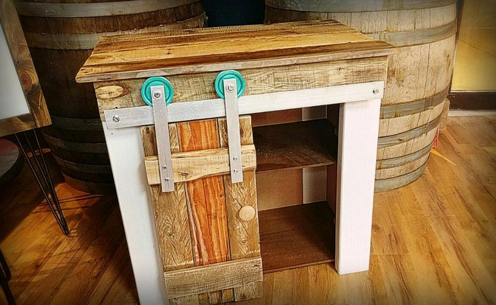 Sliding Barn Door End Tables/ Nightstands - 1 for $2002 for $300+$100 each additional after 2These are made from a combination of pallet and pine wood and are available in a variety of paint/stain colors.The barn door hardware may be painted as well.