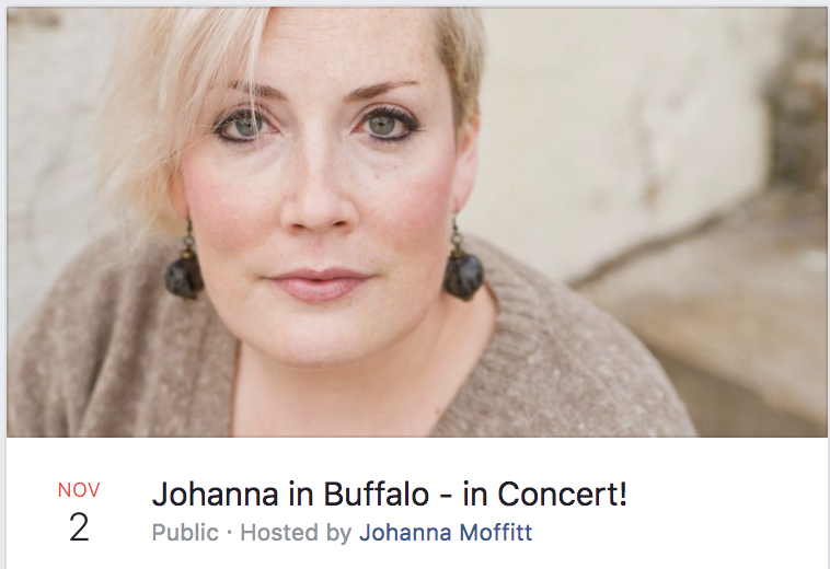 Johanna in Buffalo - In Concert! Premiere of  On Such a Night or Such a Night  and  There's a Certain Slant of Light   - November 2nd, 2016