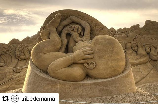 This is so incredibly beautiful! I imagine it was even more beautiful in person. Birth art is so amazing 😻 #Repost @tribedemama ・・・ | We Are Human . Sculpture by Jamie Wardley @sandinyoureye . International Sand Sculpture Festival, Søndervig, Denmark, 2014 . . . . . #womb #birth #birthdoula #thedouladate #birthart #pregnancy