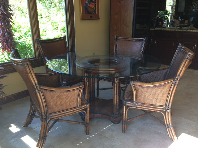Thomasville  Ernest Hemingway Collection. Chairs Are Accented With Bamboo  And A Weaved Back. Chair Seats Can Be REupholstered Very Easily. All 5  Pieces Just ...