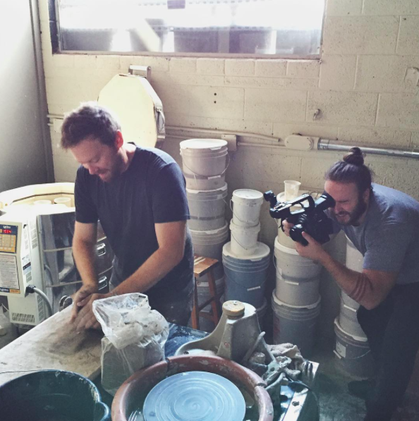 Me wedging clay for La Barba Coffee Company during a video shoot