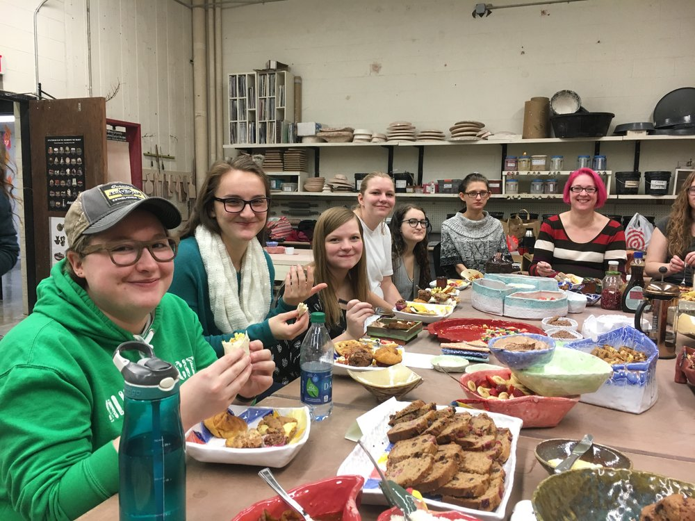 D E C E M B E R   2 0 1 7   Students in Art 2013 Introduction to Ceramics made the dishes we used for our breakfast potluck final.