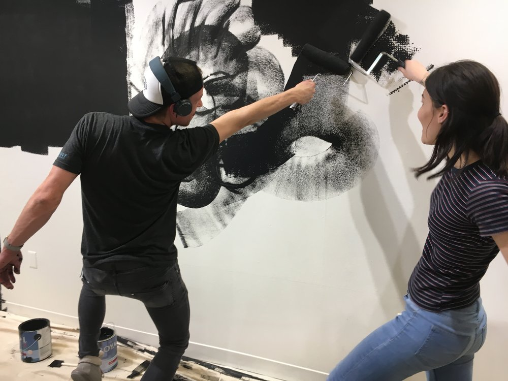 "M A Y   2 0 1 7   Students from my Exhibitions class, Shane and Alysha, paint the walls of the gallery in preparation for ""We the Creatures,"" an exhibition we designed and collaborated on with students enrolled in Drawing 2."