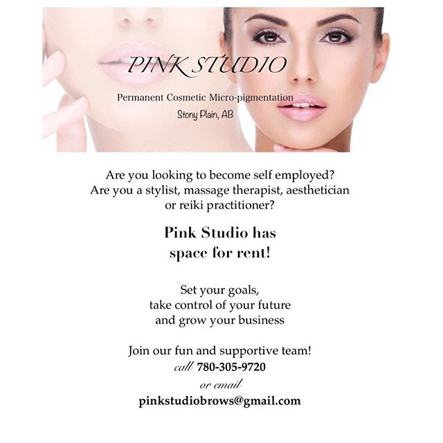 P.Ink Studio Brows is looking for potential renters in Stony Plain!! 💕 Tag a friend who may be interested or give me a call!
