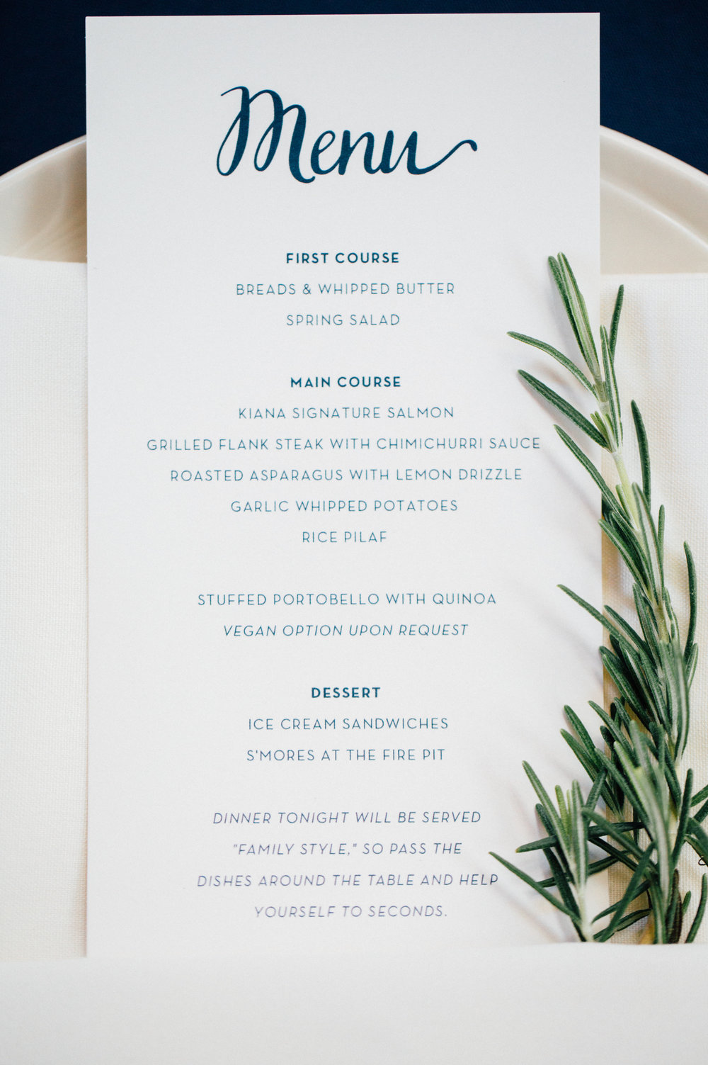 Menus with Rosemary Sprig