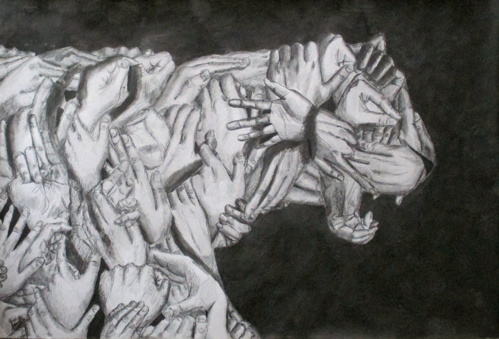 50 hand Korean tiger; cultural representation -- Graphite lead