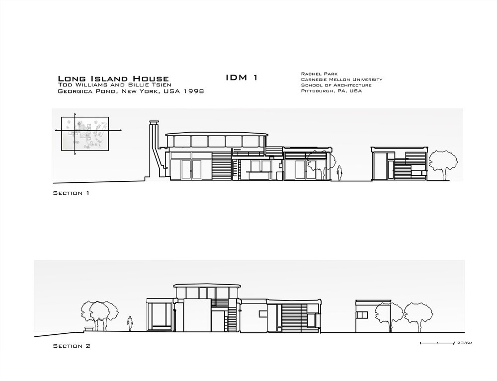 AutoCAD section study of Long Island House by Todd Williams and Billie Tsien