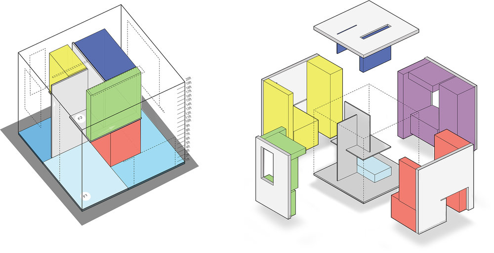 Digital representation of spatial study of first year cube house project.
