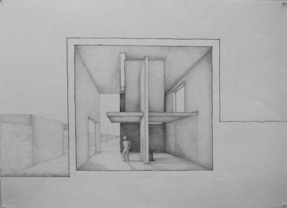 Sectional perspective analog rendering in graphite