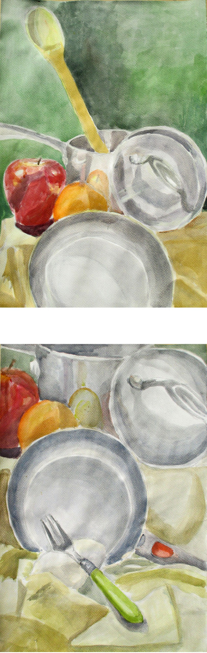 Observational still life painting of pots and pans -- Water color paint