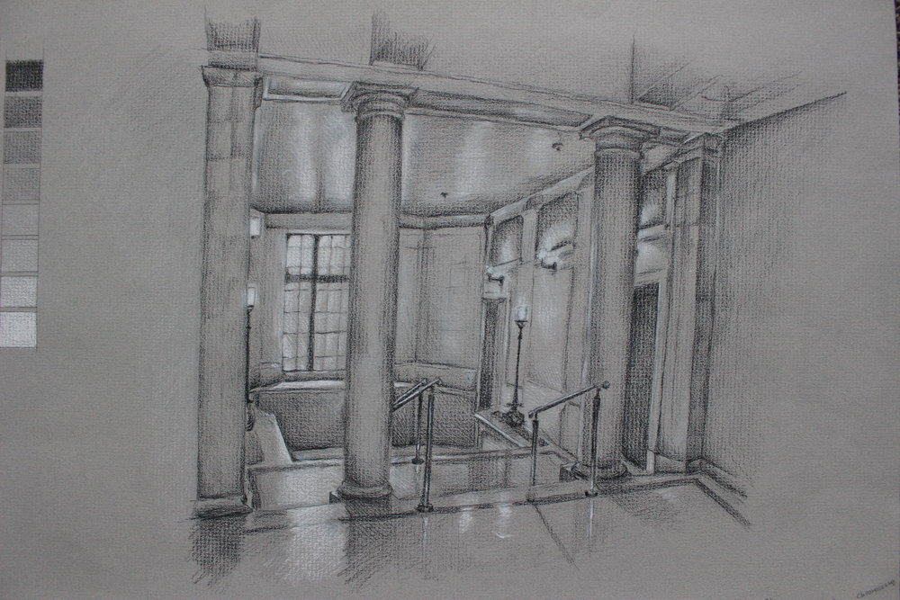 Interior black and white values charcoal study of College of Fine Arts space