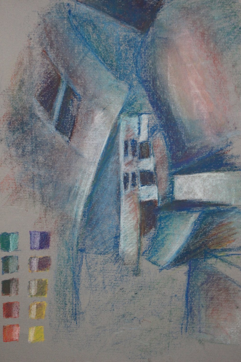 Color pastel study of Frank Gehry business building at Case Western University