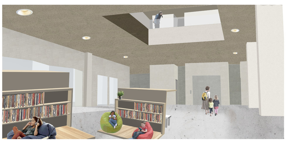 Collage rendering of interior of school