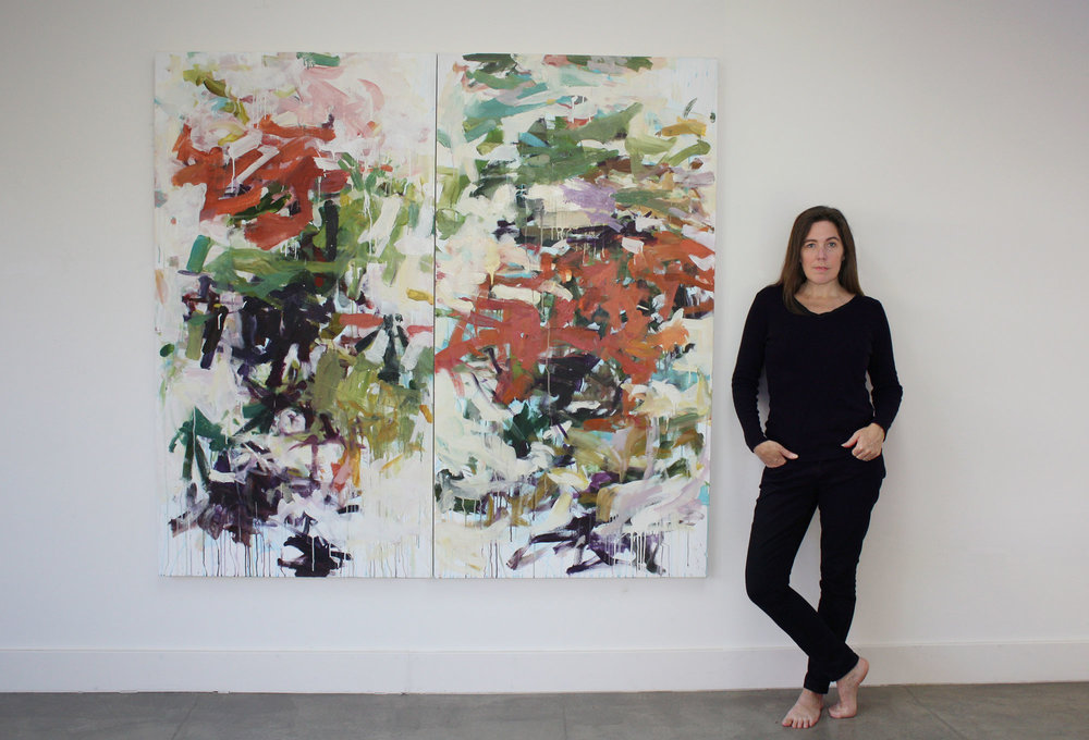 Karen Silve in front of her newest Beijing Tree paintings