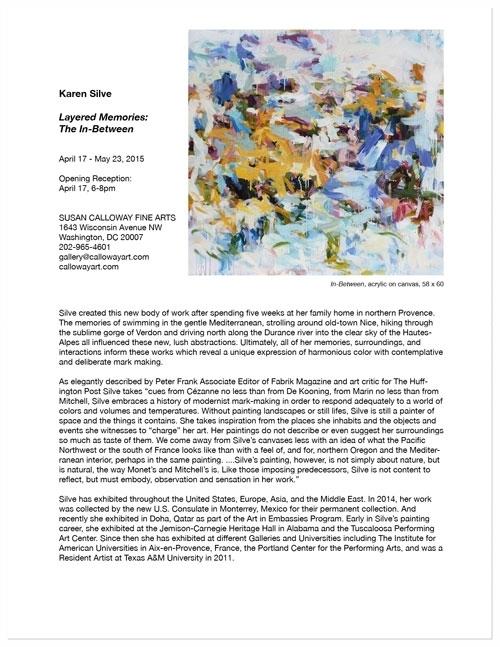 — Press Release: Karen Silve, Layered Memories, April, 2015