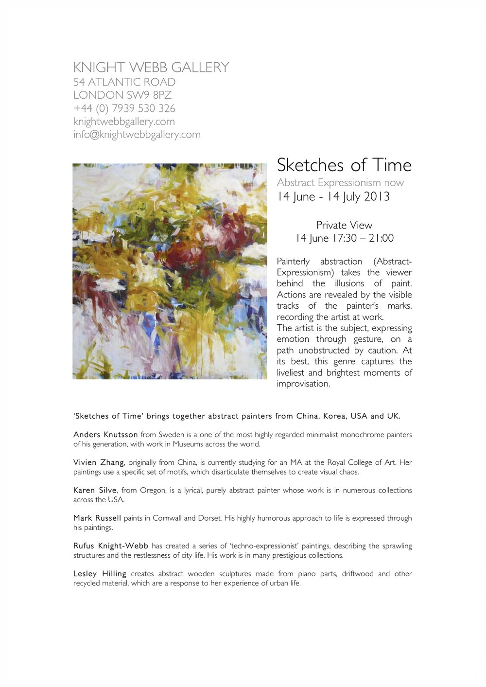 — Press Release: Sketches of Time, Abstract Expressionism now, June/July, 2013