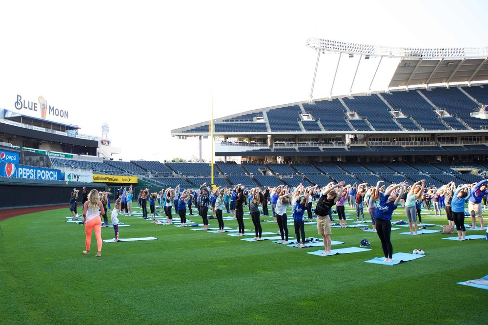 Outfit:  Alo Yoga  Teaching  Yogis in the Outfield  at  The Kansas City Royals