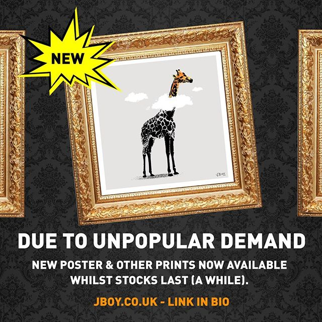 New signed open edition poster and other stuff in my shop. Jboy.co.uk -  Link in bio  #art #artwork #banksy #urbanart #streetart #stencilart #print #sprayart #graffitiart #stencil #giraffe #clouds #daydreamer #banksyart #artcollector #screenprint #safari #zoo #african #poster