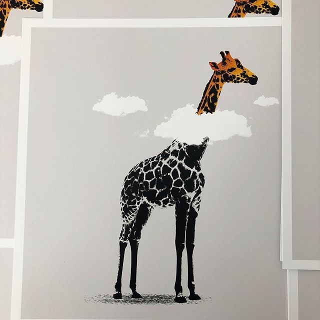 All orders shipped by monday 🦒 Got a few to sign 😐 Did an awesome video with sweet tunes but @instagram is broke. Soz. This and other stuff in my shop, limited remaining. Jboy.co.uk -  Link in bio  #art #artwork #banksy #urbanart #streetart #stencilart #print #sprayart #graffitiart #stencil #giraffe #clouds #daydreamer #banksyart #artcollector #screenprint #safari #zoo #african #poster