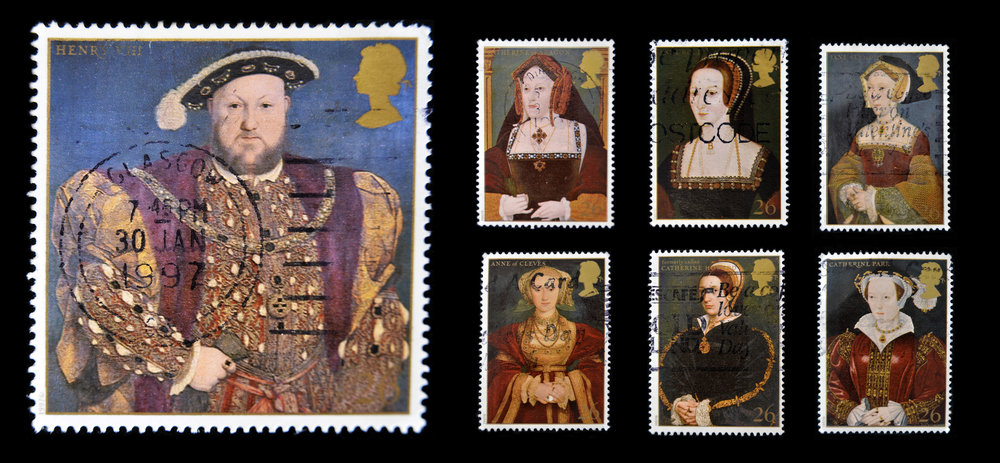 Stamps from England showing King Henry VIII and his six wives.