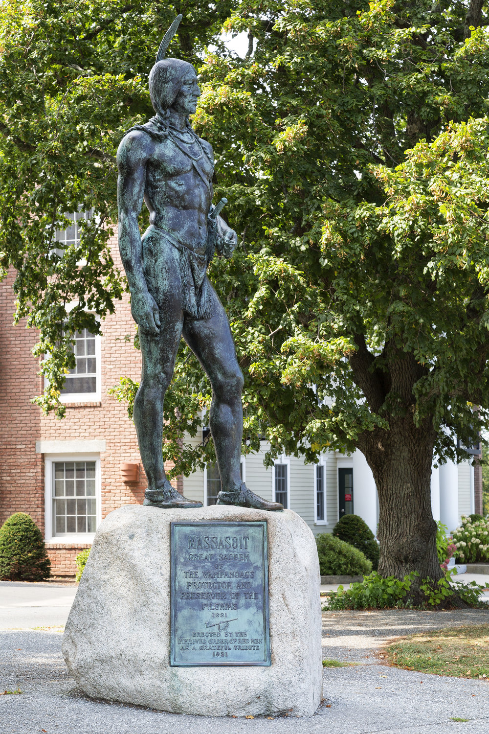 A statue of Chief Massasoit is located in Plymouth, MA.