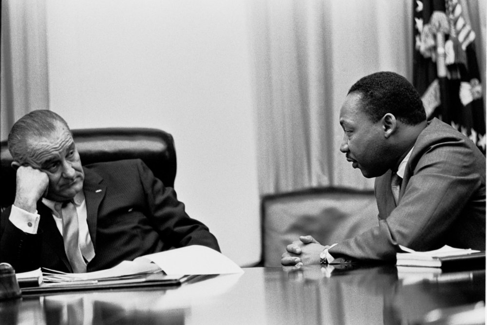 Martin Luther King, Jr. meeting with President Lyndon B. Johnson.