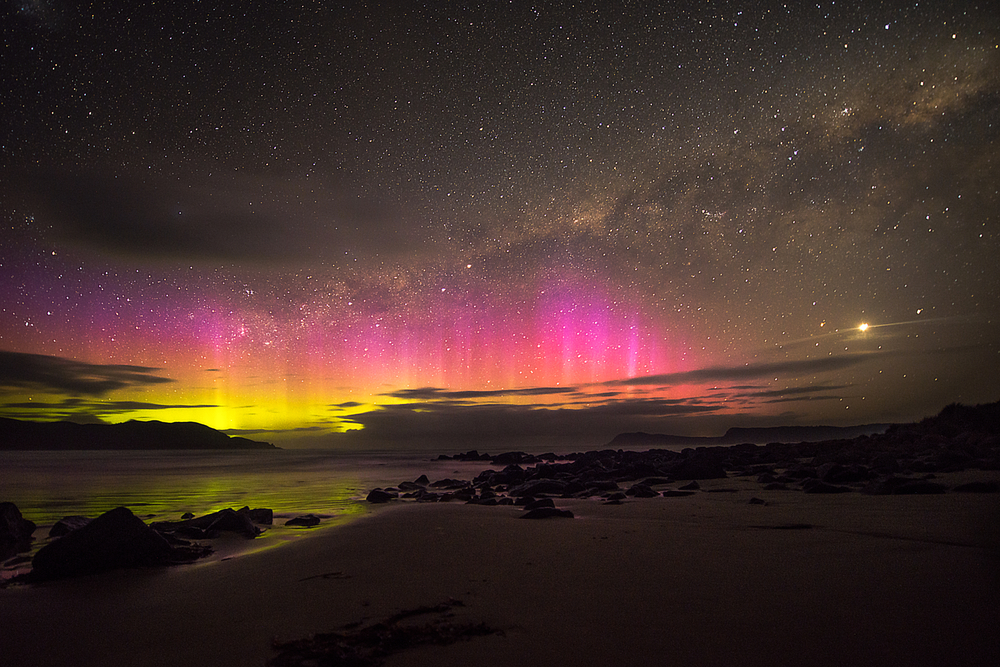 A view of the Aurora australis from Tasmania.