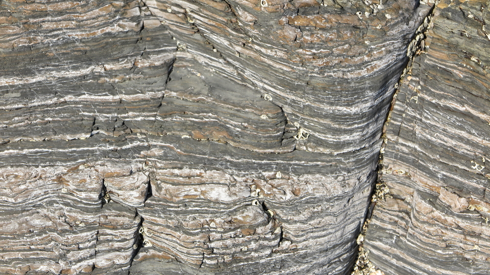 Sedimentary rock is layered.