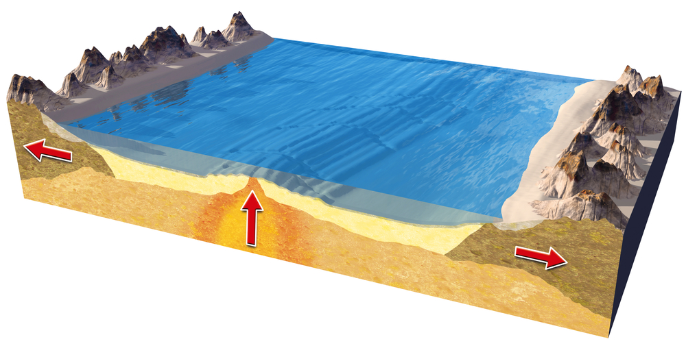 New igneous rock forms when magma cools under the ocean at the mid-ocean ridge.