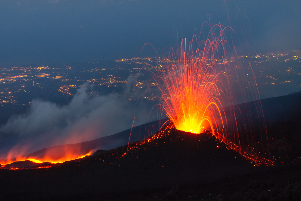 Magma is found inside volcanoes. When volcanoes erupt, magma comes to the surface.