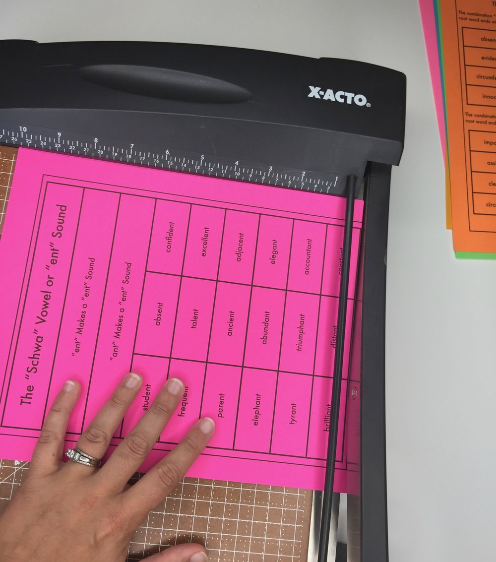The sorting pieces are designed to be cut quickly using a paper cutter to save time.