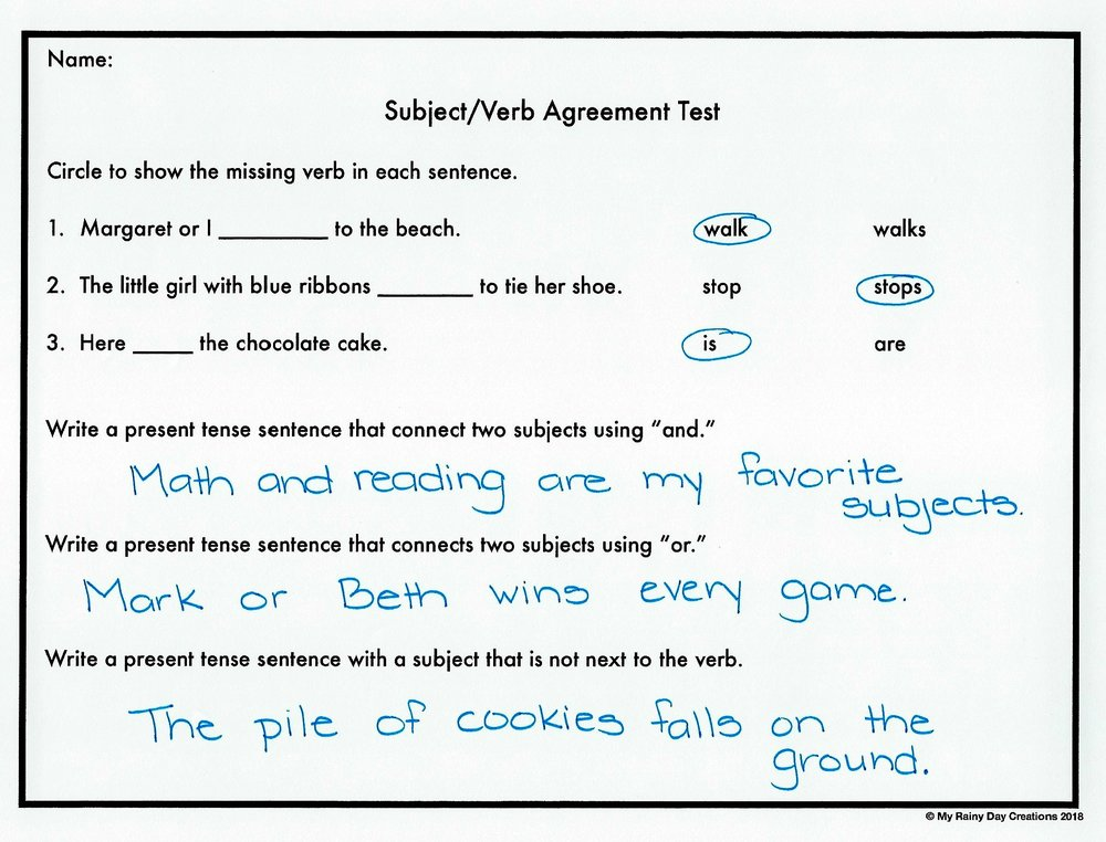 Subjectverb Agreement Blast The Productive Teacher