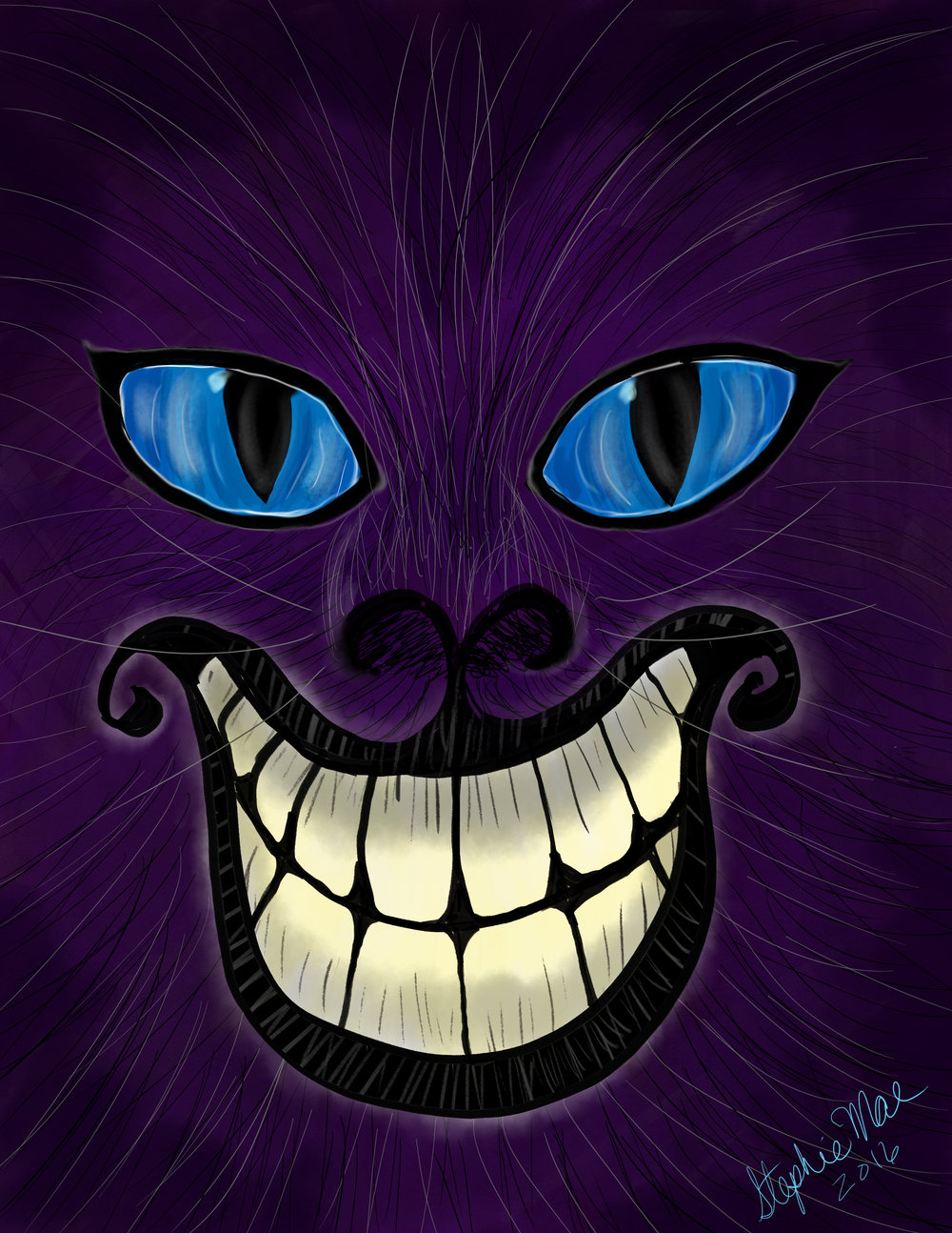 Cheshire Cat 8x10. Digital painting done in Adobe Photoshop. Stephie Mae 2016