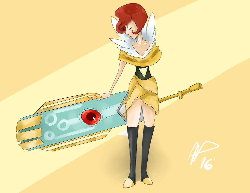 Illustration of a character from Transistor