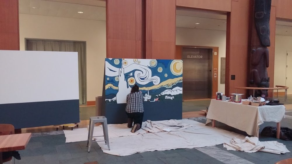 "A two-panel replica of van Gogh's ""Starry Night"" in progress at the Anchorage Museum. I created these paintings in conjunction with the exhibition, ""van Gogh Alive!"" in 2015. The panels became part of an interactive public art experience I led in the museum's atrium."