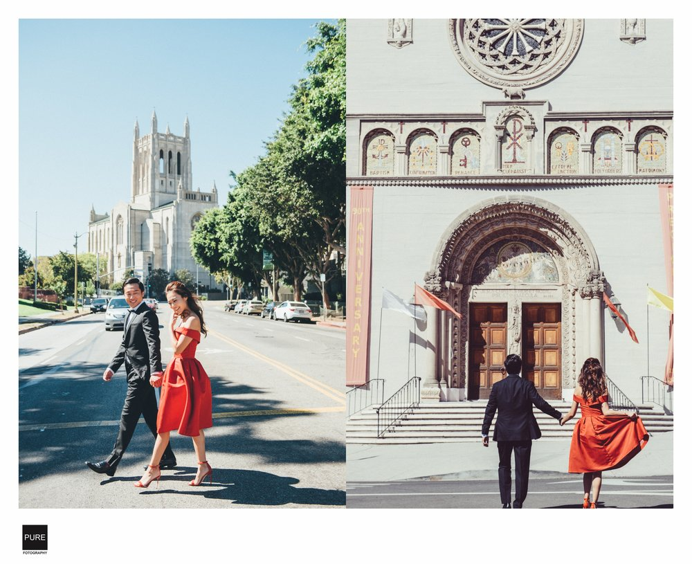 PUREFOTO_海外婚紗攝影Oversea_Prewedding_LA自助婚紗 拍攝街景教堂