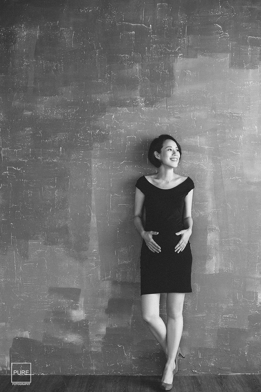 PUREFOTO_台灣孕婦攝影Pregnant_孕婦寫真黑色洋裝
