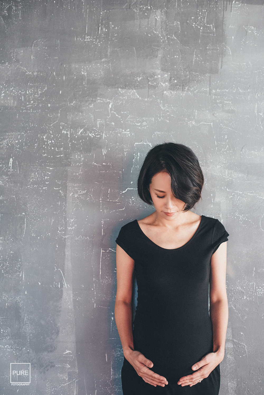 PUREFOTO_台灣孕婦攝影Pregnant_黑色洋裝孕婦寫真